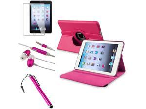 eForCity Hot Pink 360-degree Swivel Leather Case + Pink Touch Screen Stylus + Hot Pink/White Universal 3.5mm In-Ear Stereo Headset w/On-off & Mic Bundle for iPad Mini 1/iPad Mini 2/iPad Mini 3