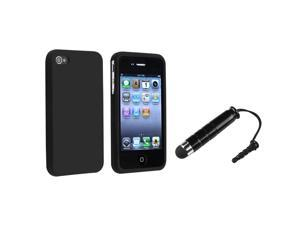 eForCity Black Silicone Skin Case + Black Universal Mini Stylus Bundle Compatible With Apple® iPhone 4 - AT&T, 4 - Verizon, 4S