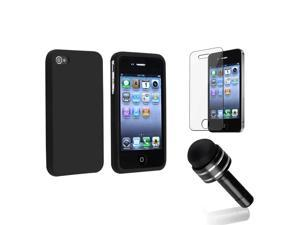 eForCity Black Silicone Skin Case + Reusable Screen Protector + Black 3.5-mm Headset Dust Cap with Mini Stylus Bundle Compatible With Apple® iPhone 4 - AT&T, 4 - Verizon, 4S