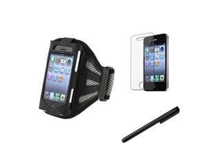 eForCity Black/Silver Deluxe Armband + Reusable Screen Protector + Black Universal Touch Screen Stylus Bundle Compatible With Apple® iPhone 4 - AT&T, 4 - Verizon, 4S