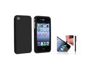 eForCity Black Silicone Skin Case + Black - Universal Touch Screen Stylus Bundle Compatible With Apple® iPhone 4 - AT&T, 4 - Verizon, 4S