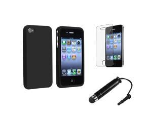 eForCity Black Silicone Skin Case + Reusable Screen Protector + Black Universal Mini Stylus Bundle Compatible With Apple® iPhone 4 - AT&T, 4 - Verizon, 4S
