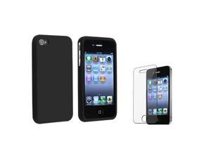 eForCity Black Silicone Skin Case + Reusable Screen Protector Bundle Compatible With Apple® iPhone 4 - AT&T, 4 - Verizon, 4S