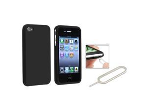 eForCity Black Silicone Skin Case + Silver Sim Card Eject Pin Bundle Compatible With Apple® iPhone 4 - AT&T, 4 - Verizon, 4S