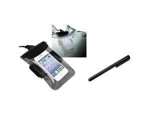 eForCity Clear Black Universal Waterproof Bag + Black Universal Touch Screen Stylus For Samsung© Galaxy Note 2 N7100 N7000
