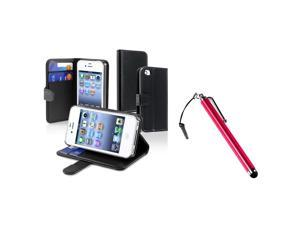 eForCity Black Wallet Leather Case + Red Touch Screen Stylus Bundle Compatible With Apple iPhone 4 - AT&T, 4 - Verizon, 4S