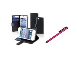 eForCity Black Wallet Leather Case + Red Universal Touch Screen Stylus Bundle Compatible With Apple iPhone 4 - AT&T, 4 - Verizon, 4S
