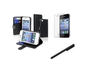 eForCity Black Wallet Leather Case + Reusable Screen Protector + Black Universal Touch Screen Stylus Bundle Compatible With Apple iPhone 4 - AT&T, 4 - Verizon, 4S