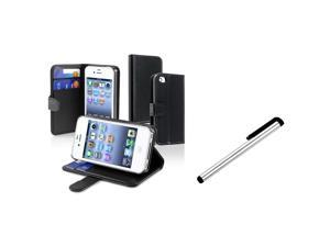eForCity Black Wallet Leather Case + Silver - Universal Touch Screen Stylus Bundle Compatible With Apple iPhone 4 - AT&T, 4 - Verizon, 4S