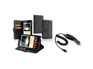 eForCity Black Flip Wallet Leather Card Case Cover + Car Charger For Samsung© Galaxy Note N7000