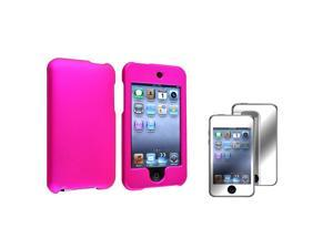 Pink Rubber Coated Case + Mirror Screen Protector Compatible with Apple® iPod touch 2nd / 3rd Generation