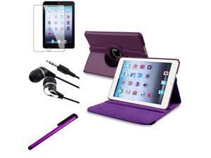 eForCity 4 Bundle Purple 360 Rotating Leather Case Guard Headset Stylus compatible with Apple iPad Mini 1 / Apple iPad Mini 2 / iPad Mini with Retina Display (iPad Mini 3)