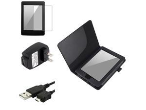 eForCity Black PU Leather Case Cover + Anti-Glare Guard + USB Cable + Mains Charger For Kindle Paperwhite