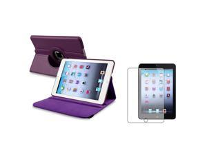 eForCity Purple 360 Rotating Leather Case+ Anti-Glare Screen Protector for Apple  iPad Mini 1 / Apple iPad Mini 2 / iPad Mini with Retina Display (iPad Mini 3)