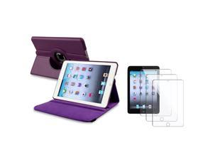 eForCity Purple 360 Swivel Leather Case Cover+3X Screen LCD Protector Guard For Apple  iPad Mini 1 / Apple iPad Mini 2 / iPad Mini with Retina Display (iPad Mini 3)