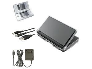 eForCity Crystal Case Cover + Charging Cable + Travel Charger + 2-LCD Protector Compatible With Nintendo DS Lite