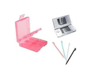eForCity 2-LCD Kit Reusable Screen Protector + Blue/White/Black/Pink 4-Piece Stylus + Light Coral Game Card Case 16-in-1 Compatible With Nintendo DS Lite