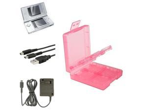 eForCity Coral 16in1 Card Case Cover + USB Cable + Grey AC Charger + 2-LCD Protector Compatible With Nintendo DS Lite