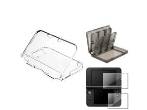 eForCity Clear Crystal Case + Smoke 28in1 Card Case + 2-LCD Screen Film For Nintendo 3DS XL