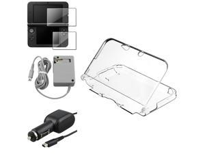 eForCity Clear Crystal Case + Gray Travel Charger + 2-LCD Kit Reusable Screen Protector Bundle Compatible With Nintendo 3DS XL/LL