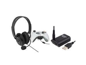 eForCity Black Headset with Microphone+Black Replacement Battery with USB Cable Compatible With Microsoft Xbox 360, Xbox 360 Slim