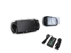 eForCity Crystal Hard Case Cover+LCD Screen Protector+Travel Charger For Sony PSP 1000