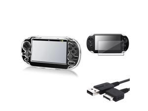 eForCity Crystal Hard Case Cover+USB Charging Cable+Screen Protector For Sony PS Vita PSV