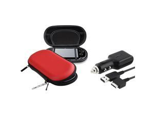 Red Eva Case with 1 Car Charger With USB Cable compatible with Sony Playstation Vita