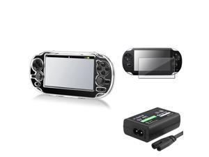eForCity Clear Crystal Hard Case Cover + US Plug AC Adapter + Screen Protector Compatible With Sony PS Vita PSV