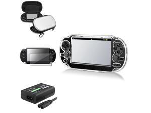 eForCity Crystal Case Cover + Silver Hard EVA Case Cover Pouch + Film Protector + AC Adapter US Plug Compatible With Sony PS Vita