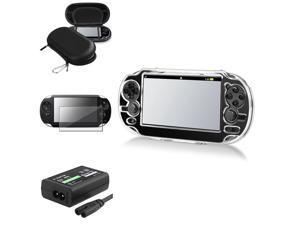 eForCity Screen Protector + Black EVA Case Cover Pouch + Crystal Case Cover + US AC Adapter Compatible With Sony PS Vita