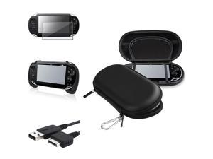 eForCity Black Eva Case + Black Hand Grip + Screen Protector Bundle Compatible With Sony Playstation Vita