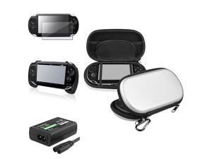 eForCity Silver Eva Case + Black Hand Grip + Screen Protector Bundle Compatible With Sony Playstation Vita