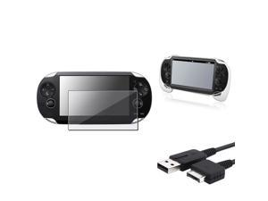 eForCity White Hand Grip + Clear Screen Protector + USB Cable Compatible With Sony PS Vita PSV