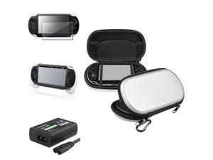 eForCity Silver Eva Case + White Hand Grip + Screen Protector Bundle Compatible With Sony Playstation Vita