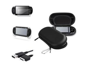eForCity White Hand Grip + Screen Protector + Black EVA Case Cover + USB Cable Compatible With Sony PS Vita PSV