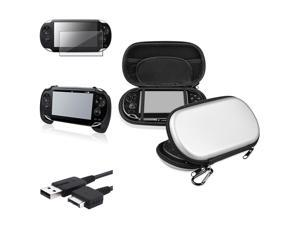 eForCity Black Hand Grip + Screen Protector + Silver EVA Case Cover + USB Cable Compatible With Sony PS Vita PSV