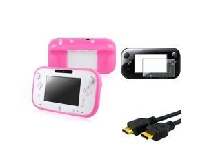 eForCity Pink Gamepad Controller Case + Screen Protector + 6ft HDMI Cable compatible with Nintendo Wii U