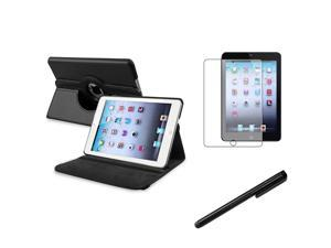 eForCity Black Touch Screen Stylus + Black 360-degree Swivel Leather Case + Anti-Glare Screen Protector for Apple iPad Mini 1 / Apple iPad Mini 2 / iPad Mini with Retina Display (iPad Mini 3)