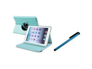eForCity Blue Universal Touch Screen Stylus + Light Blue 360-degree Swivel Leather Case Bundle Compatible With Apple iPad Mini 1 / Apple iPad Mini 2 / iPad Mini with Retina Display (iPad Mini 3)