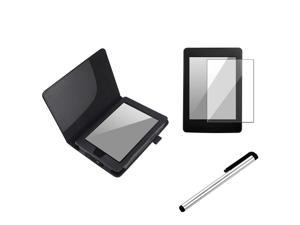 eForCity Silver Universal Touch Screen Stylus + Black Leather Case + Reusable Screen Protector Bundle Compatible With Amazon Kindle Paperwhite
