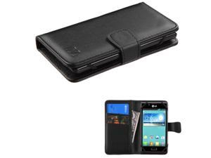 eForCity Black Wallet Leather Case For ZTE Fanfare iPhone 5 5S 5C iPod Touch 5th 6th LG Leon Motorola Moto E G X Alcatel One Touch Fierce Samsung Galaxy Core Prime Avant Nokia Lumia 635 w/ Card Slot