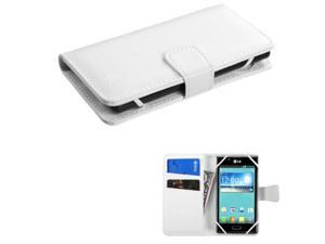 eForCity White Wallet Leather Case For ZTE Fanfare iPhone 5 5S 5C LG Leon Optimus Exceed 2 F60 L70 Alcatel One Touch Fierce 1 2 Fierce Samsung Galaxy Core Prime Ace Style Nokia Lumia 630 w/ Card Slot
