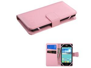 eForCity Pink Wallet Leather Case w/ Card Slot For ZTE Fanfare iPhone 5 5S 5C iPod Touch 5th 6th LG Leon Motorola Moto E G X Alcatel One Touch Fierce Samsung Galaxy Core Prime Avant Nokia Lumia 635