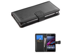 eForCity Leather Wallet Case For iPhone 6S 6 / HTC Desire 510 610 / LG G3 G2 / Moto G X 2nd Gen / Nokia Lumia 610 / Samsung Galaxy S5 S4 S3 Avant / Alcatel One Touch Fierce Black (with Card Slot)