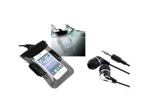 eForCity Clear Black Universal Waterproof Bag + Black/Silver Universal 3.5mm In-Ear Stereo Headset For iPod Touch 4 4th Gen