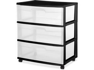 Sterilite 3 Drawer Wide Cart, Black