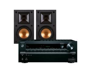 Onkyo TX-NR646 7.2-Channel Network AV Receiver with Klipsch R-14M Reference Monitor Speakers (Black)