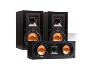Klipsch R-15M Reference Bookshelf Monitor Speaker Pair with R-25C Center Speaker (Black)