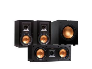 """Klipsch Reference 3.1 Channel R-15M Bookshelf Speaker Bundle with 10"""" Subwoofer (Black)"""